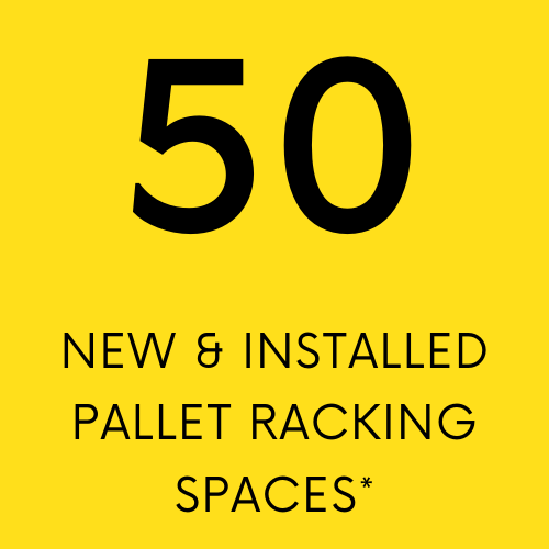 50 new and installed pallet racking