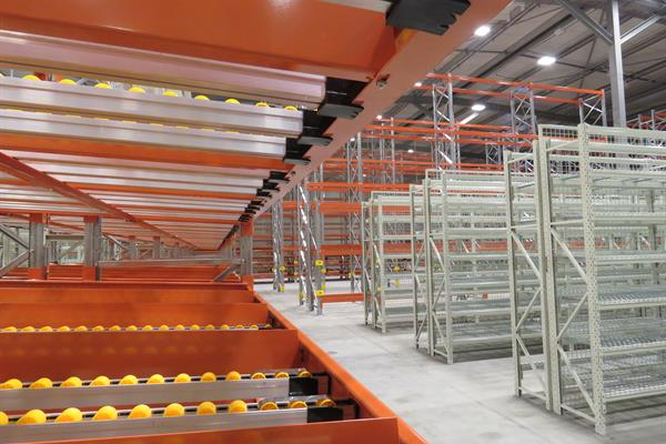 Gravity flow racks and carton live storage solutions offer high-density storage capacities